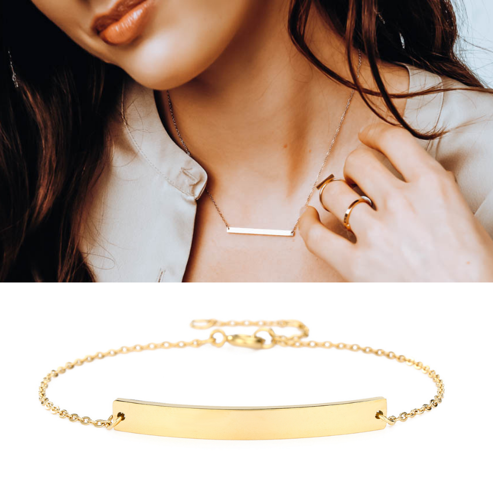 DELICATE BAR NECKLACE AND BRACELET SET