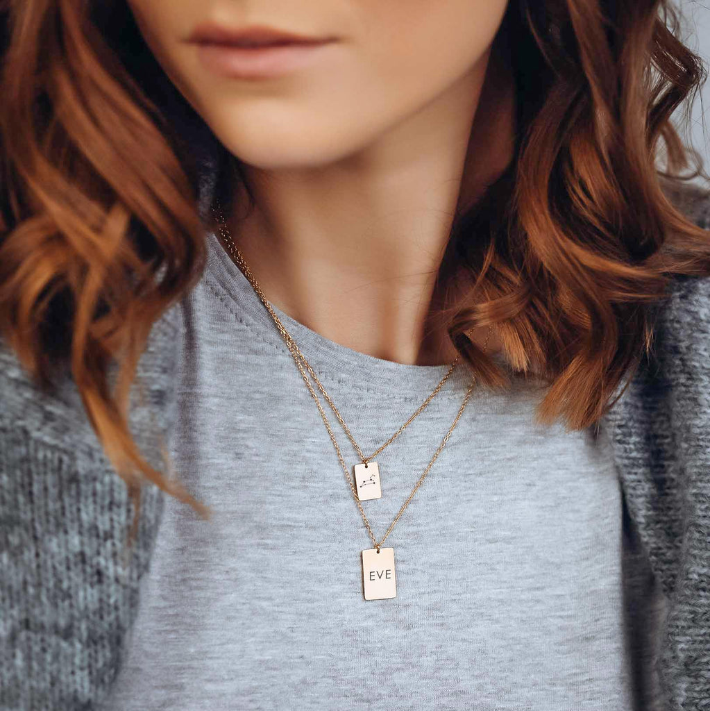 ICONIC RECTANGLE LAYERED NECKLACE SET