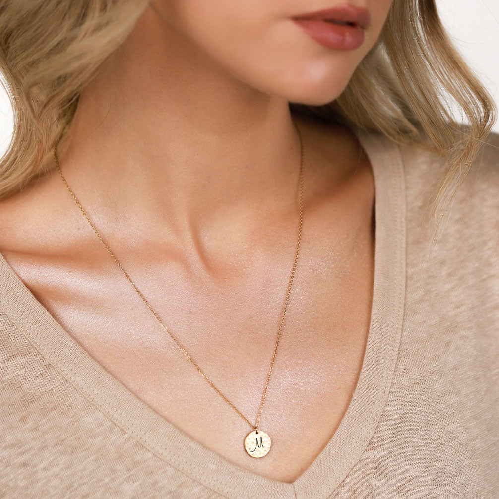 ELEGANT INITIAL LETTER COIN NECKLACE