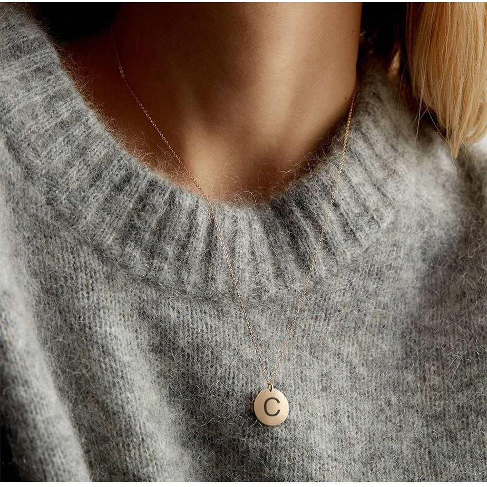 MINIMALIST INITIAL COIN NECKLACE - Ora Gift