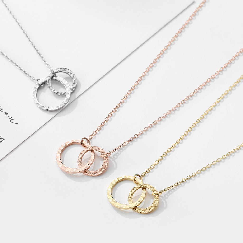 PRECISE INTERLOCKING TWO CIRCLE NECKLACE - Ora Gift