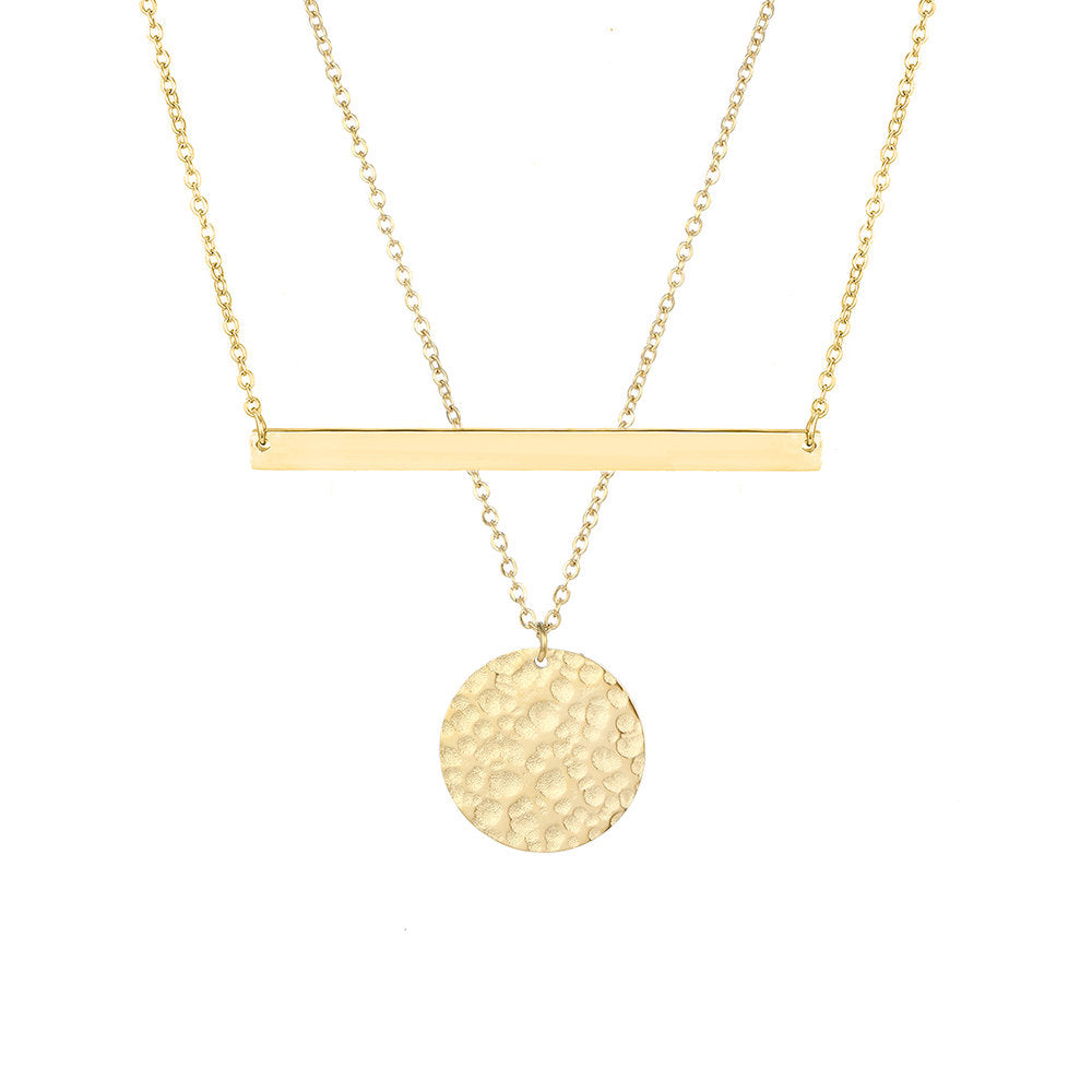 PRETTY SIMPLE BAR COIN LAYERED NECKLACE SET - Ora Gift