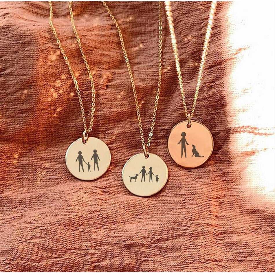 ONE OF A KIND FAMILY ILLUSTRATIONS NECKLACE - Ora Gift