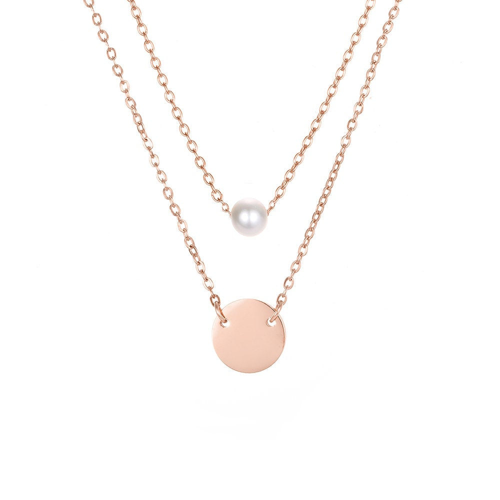 CUTE DISC AND PEARL LAYERED NECKLACE SET - Ora Gift