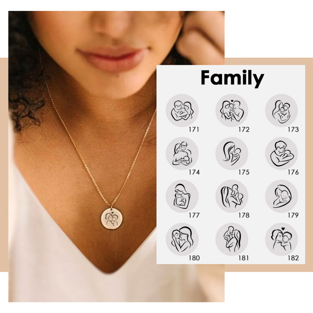 LOVE FAMILY ILLUSTRATIONS NECKLACE