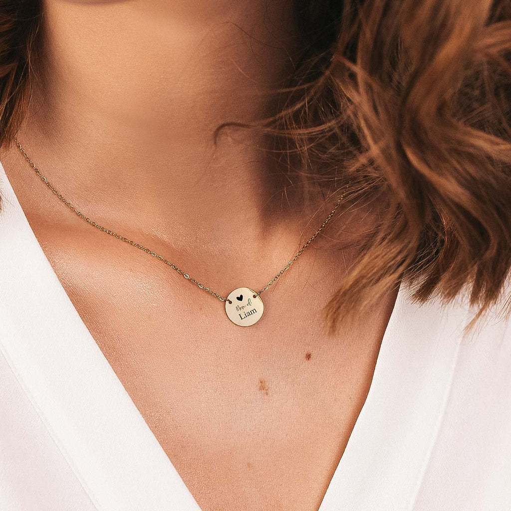 ENGRAVED MOM MINIMAL COIN NECKLACE