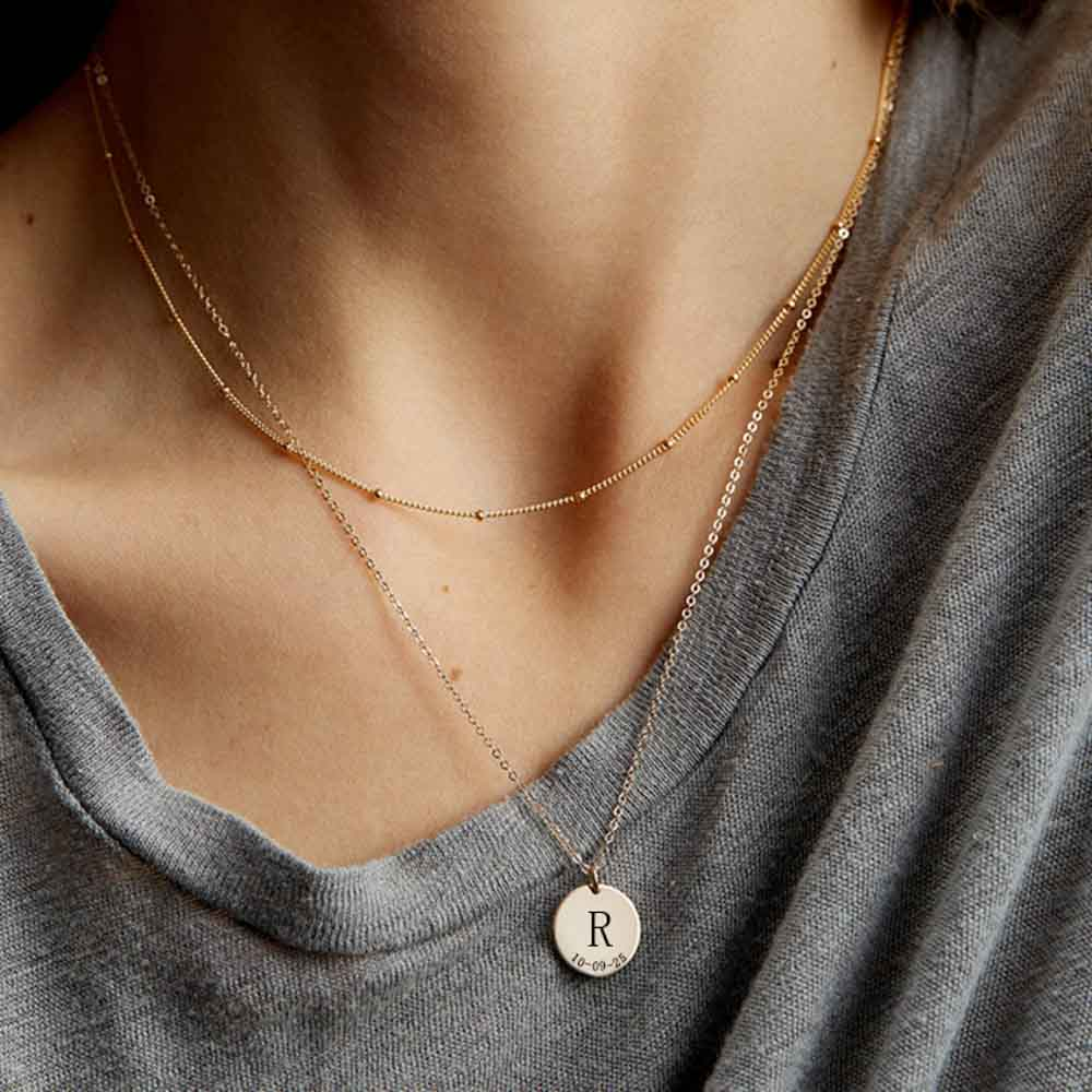 TRENDY INITIAL COIN NECKLACE
