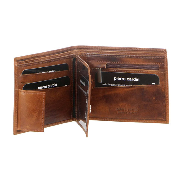 Pierre Cardin Rustic Leather Tri-Fold Mens Wallet (PC2812)