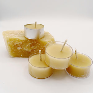 Tea light beeswax candles made with 100% beeswax, natural candles
