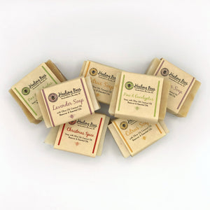 bar soap made with coconut, shea butter, olive oil and essential oils.  Made with Olive oil & Coconut, Canola oil, Castor oil, Beeswax, and Essential oils. This soap can be used on all skin types and is 100% natural. This beautiful hard bar of soap makes lots of bubbles but mild enough for sensitive skin types.