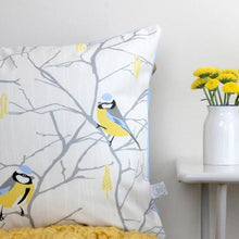 Load image into Gallery viewer, Blue Tit and Catkin cushion