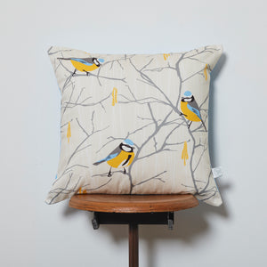Blue Tit and Catkin cushion