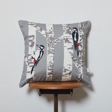 Load image into Gallery viewer, Woodpecker and Silver Birch Cushion