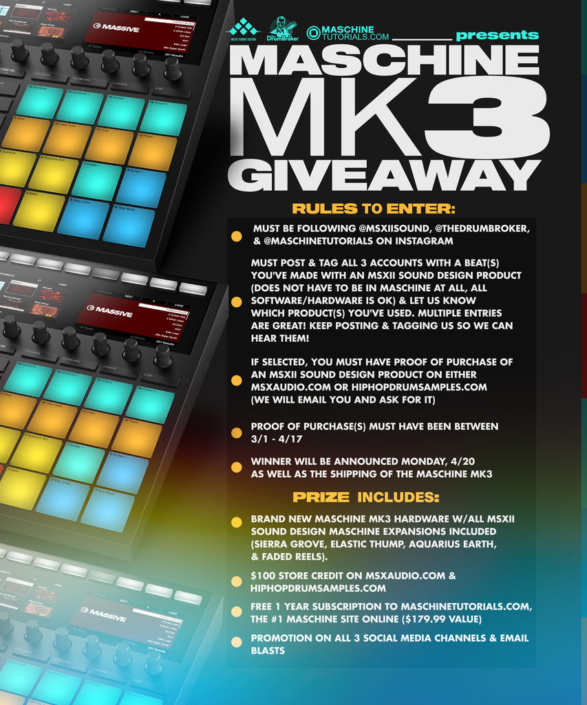 MASCHINE MK3 GIVEAWAY (DO NOT ADD TO CART)