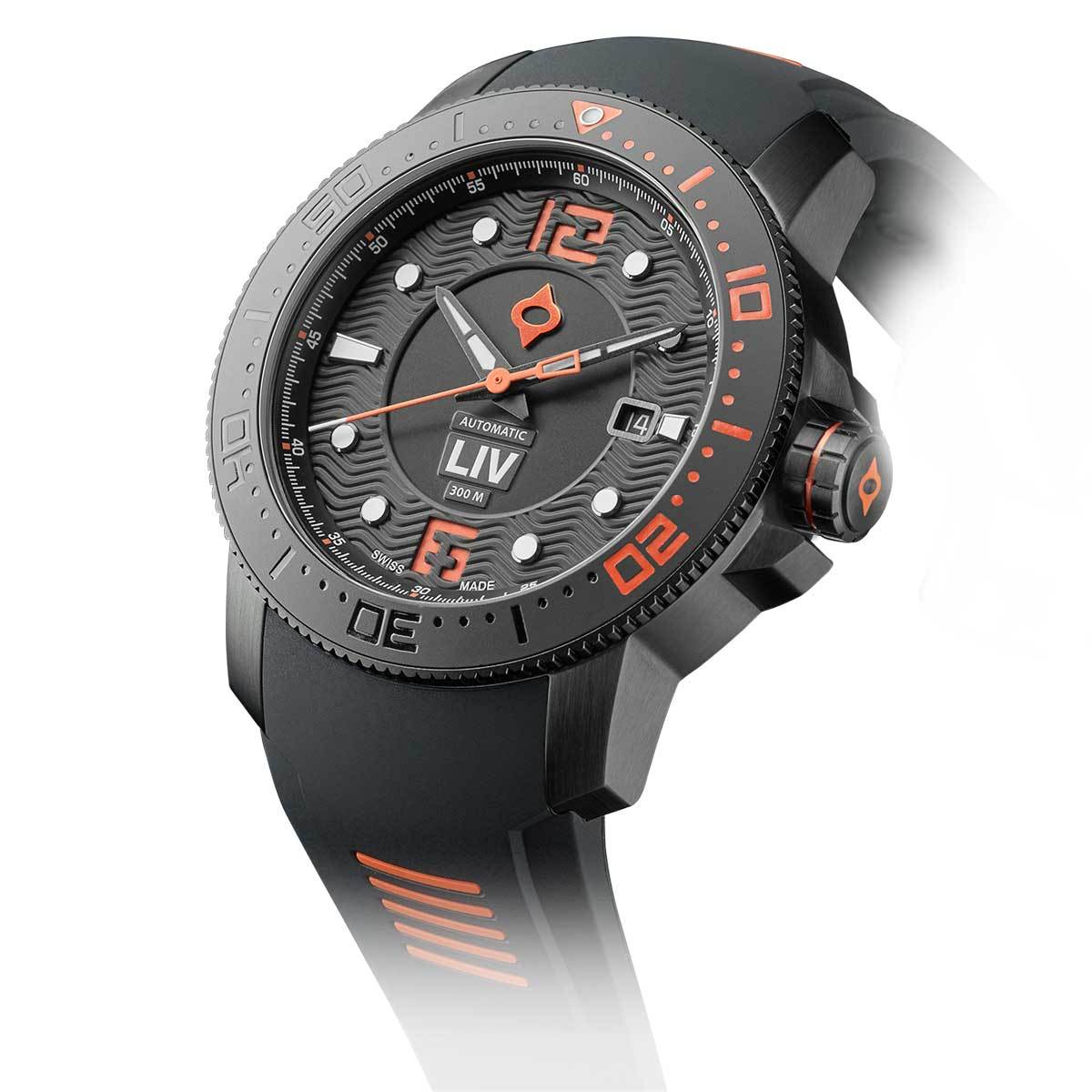 44MM LIV GX Ceramic Diver's Signature Orange - LIV Swiss Watches
