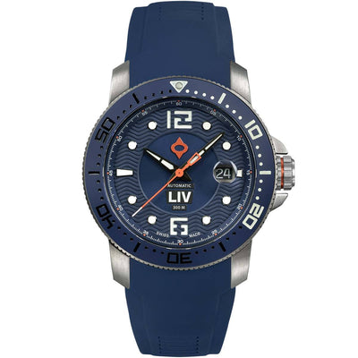 44MM LIV GX Ceramic Diver's Steel Cobalt - LIV Swiss Watches