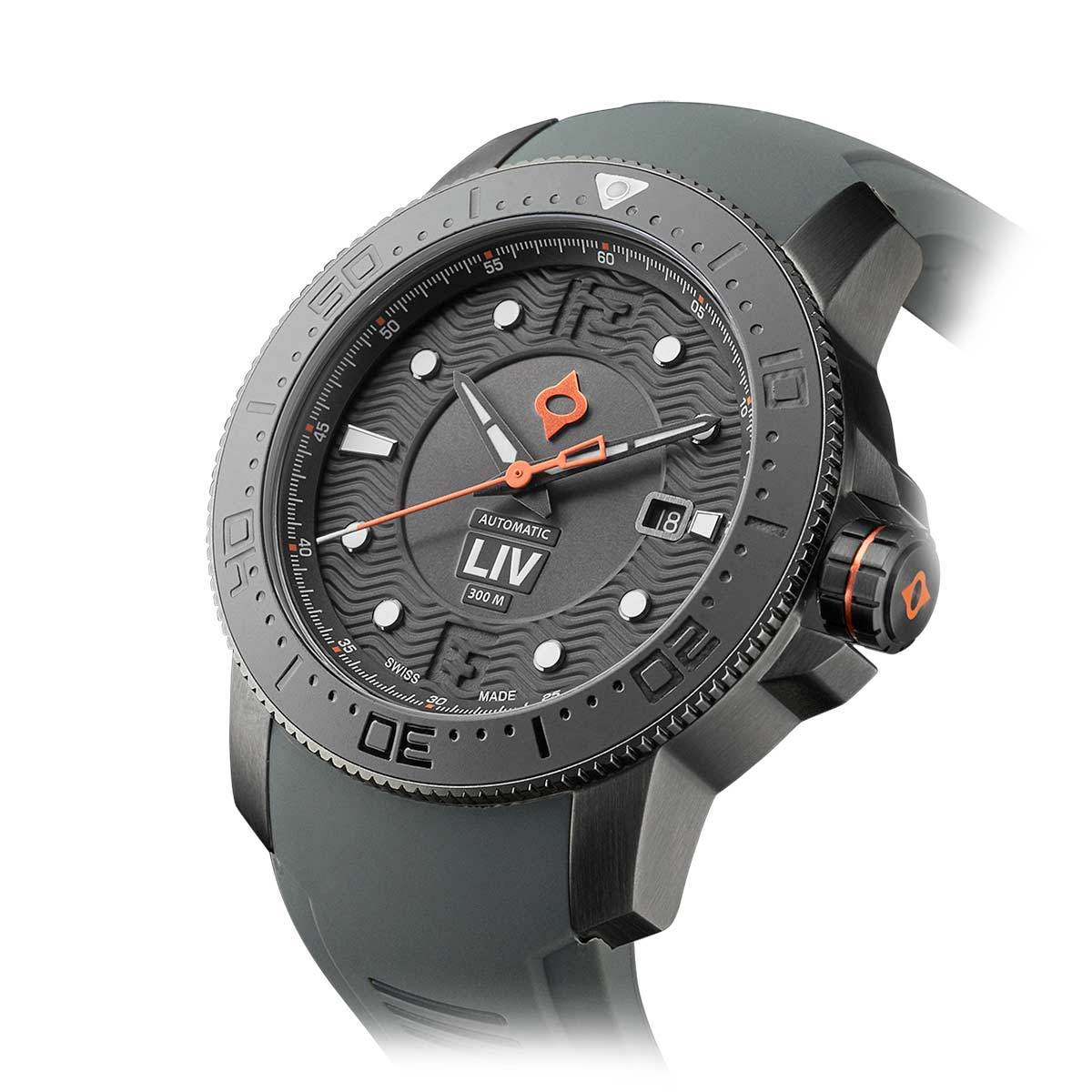 44MM LIV GX Ceramic Diver's Gray Gray - LIV Swiss Watches