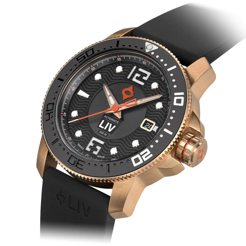 LIV Diver's 41mm Rose Gold & Gray - LIV Swiss Watches
