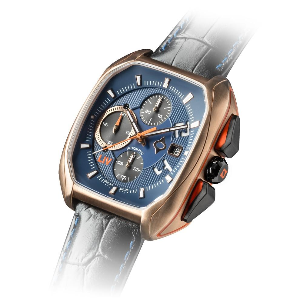 LIV Rebel-AC Cobalt & Rose Gold - LIV Swiss Watches