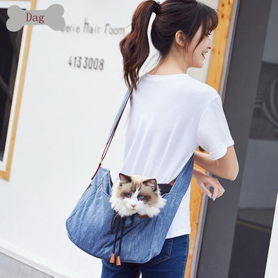 Ihrtrade Adjustable Denim Sling Bag For Pet Outing