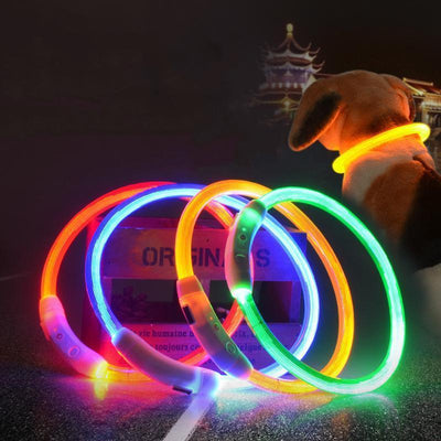 IHRneer USB Charging LED Flashing Safety Dog Collar (7 colors & 3 sizes)