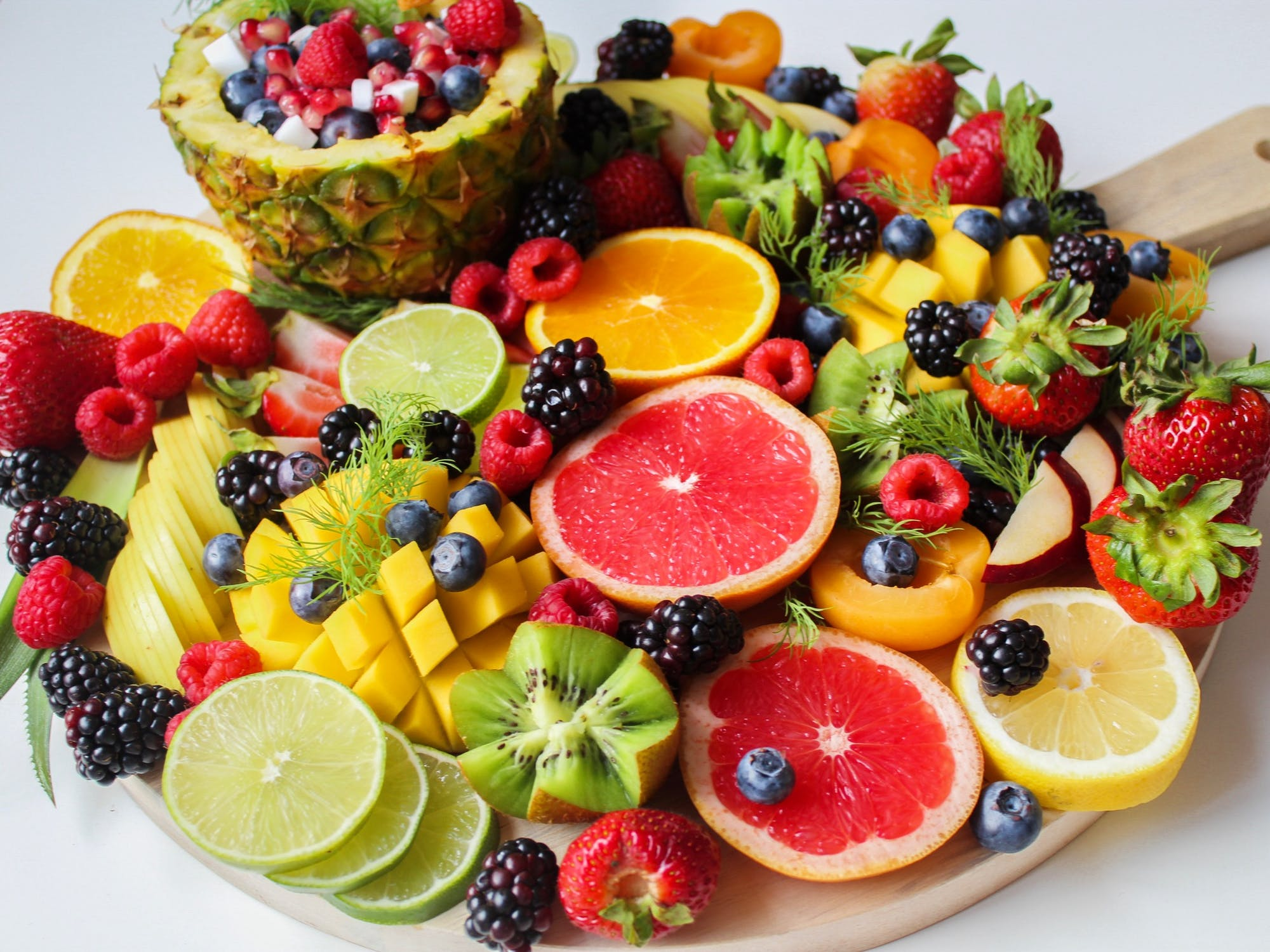 Colourful fruits (like lemon, berries, lime) full of vitamin C to boost immune systems