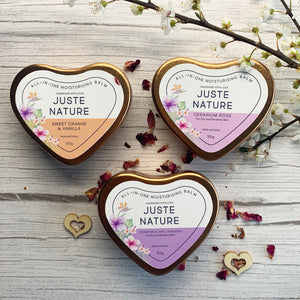 Juste Nature ROSE GOLD HEART MOISTURISING BALM TINS