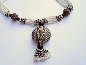 Collier africain - pendentif terre cuite - nect21