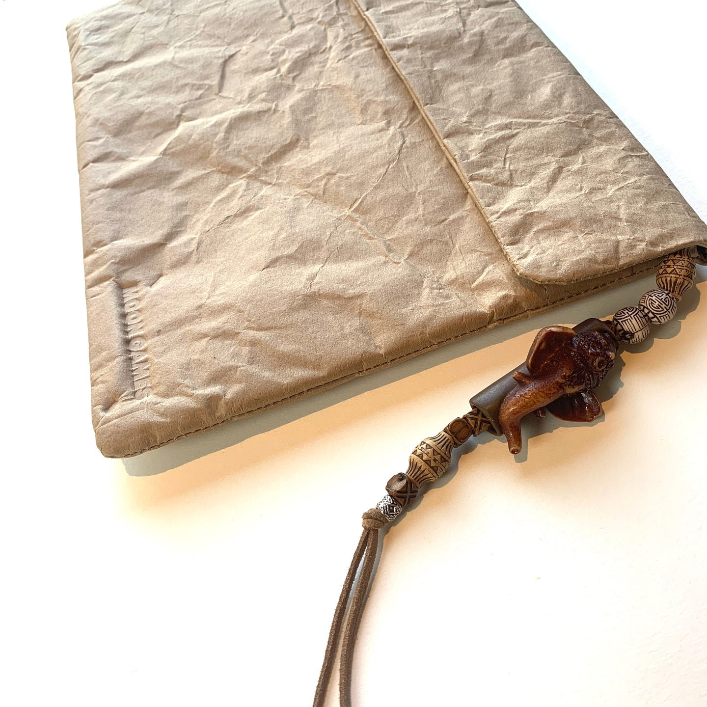 Natural Recycled Paperbag X Ganesha Beaded Tassel *LIMITED EDITION*