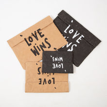 Load image into Gallery viewer, Love Wins Recycled Paperbag (Natural, Medium Size)