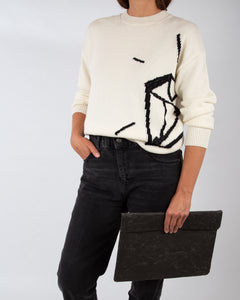 Oversized Intarsia knitted sweater |CLOUD DANCER