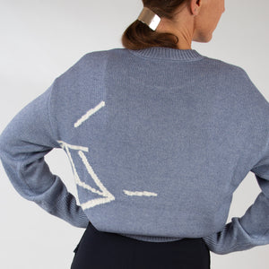 Oversized Intarsia knitted sweater |STONER BLUE