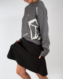 Oversized Intarsia knitted sweater |CHROME