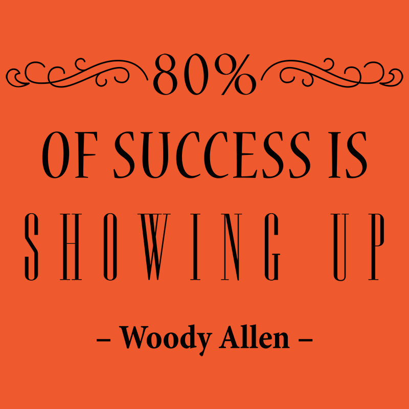 Image result for 80% of success is showing up
