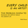 Every child is an artist. The problem is how to remain an artist once he grows up. - Pablo Picasso - Quote T-Shirt Design
