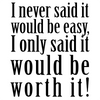I never said it would be easy, I only said it would be worth it!