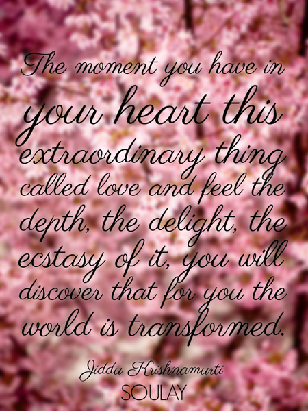 The moment you have in your heart this extraordinary thing called love and feel the depth, the de... (Poster)