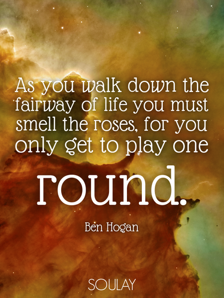 As you walk down the fairway of life you must smell the roses, for you only get to play one round. (Poster)