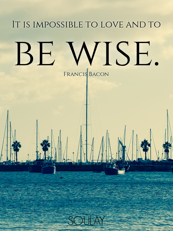 It is impossible to love and to be wise. - Quote Poster