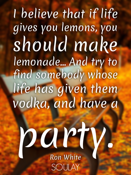I believe that if life gives you lemons, you should make lemonade... And try to find somebody who... (Poster)