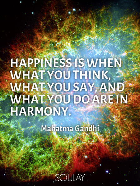 Happiness is when what you think, what you say, and what you do are in harmony. (Poster)