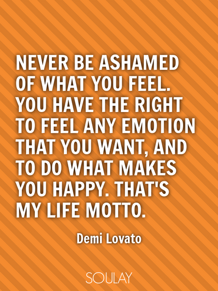 Never be ashamed of what you feel. You have the right to feel any emotion that you want, and to d... (Poster)