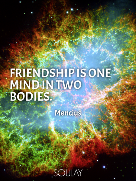 Friendship is one mind in two bodies. (Poster)