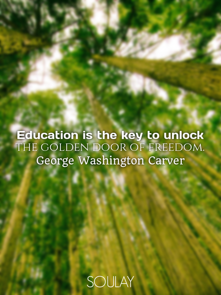 Education is the key to unlock the golden door of freedom. (Poster)