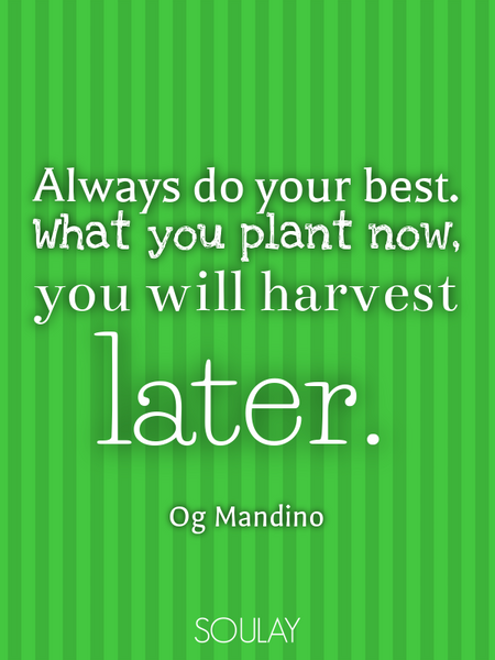 Always do your best. What you plant now, you will harvest later. (Poster)