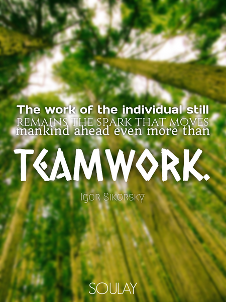 The work of the individual still remains the spark that moves mankind ahead even more than teamwork. (Poster)
