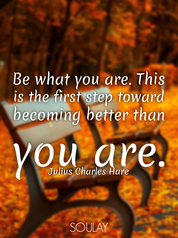 Be what you are. This is the first step toward becoming better than... - Quote Poster