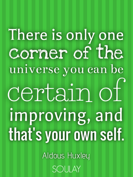 There is only one corner of the universe you can be certain of improving, and that's your own self. (Poster)