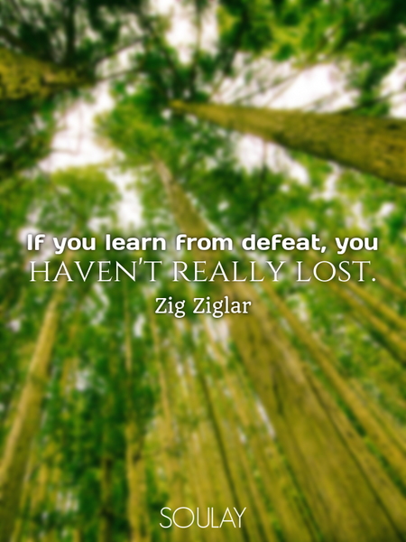 If you learn from defeat, you haven't really lost. (Poster)