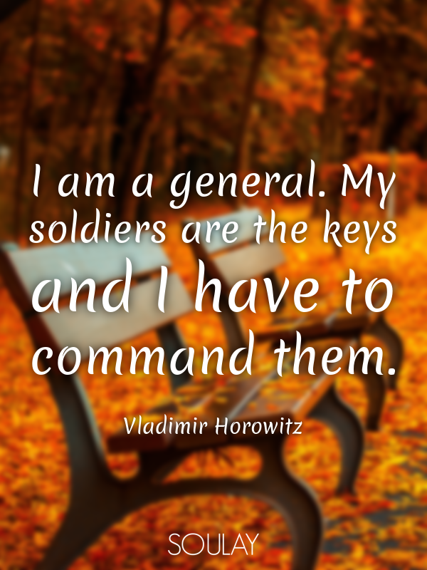 I am a general. My soldiers are the keys and I have to command them. - Quote Poster